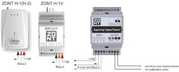 Подключение адаптера Zont OpenTherm