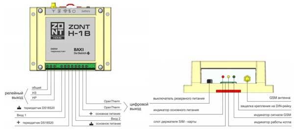 Подключение Zont H-1B
